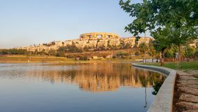 Modiin, city in Israel, city of future, city without wires, Anaba Park, lake, reflection. Modiin, city in Israel, city of future, city without wires, Anaba Park royalty free stock photos