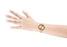 Modische Armbanduhr auf der Frauenhand lokalisiert auf weißem Hintergrund Lizenzfreie Stockbilder