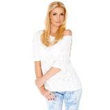 Modische dünne blonde Frau Lizenzfreies Stockfoto
