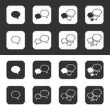 Modische dünne Ikonen mit Sprache-Blasen. Satz. Vektor Lizenzfreies Stockfoto