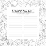 Modische Einkaufslisteschablone mit Gemüse Lizenzfreies Stockfoto