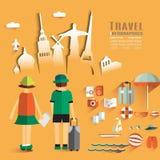 Modische flache Design-Illustrations-Reise Stockbilder