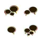 Modische flache Ikonen mit Sprache-Blasen. Vektor Stockfoto