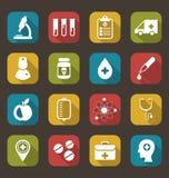 Modische flache Ikonen von medizinischen Elementen lizenzfreie abbildung