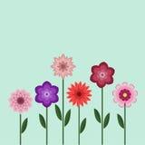 Modische flache Papierblumen Stockfoto