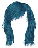 Modische Frauenhaar-Blaufarbe mittlere Länge Zwei dekorative Fahnen lizenzfreie abbildung
