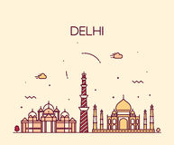 Modische Illustrationslinie Kunst der Delhi-Stadtskyline Lizenzfreies Stockbild