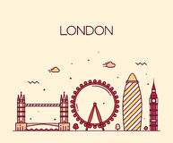 Modische Illustrationslinie Kunstart Londons England Stockfoto
