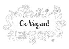 Modische insrirational Beschriftung mit Gemüse Stockfotografie
