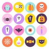 Modische Kreis-Ikonen Halloweens eingestellt Lizenzfreies Stockbild