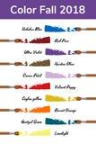 Modische Modefarben des 2018 Falles, Winter Martini-Olive, Quetzal-Grün, rote Birne, ultraviolettes, Rampenlicht, grobe Orange stock abbildung
