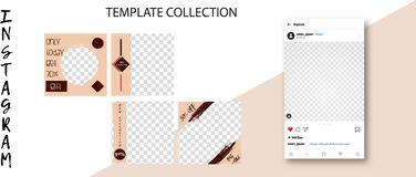 Modische Schablonen des Sozialen Netzes Social Media-Fahnen für Ihren Entwurf Editable Instagram-Postenspott oben lizenzfreie abbildung
