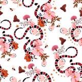 Modische Schlange des nahtlosen Musters mit Blumengrafikdesignvektor vektor abbildung
