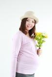 Modische schwangere Frau Stockfoto