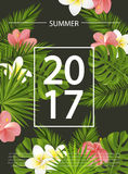 Modische Sommerkarte, Fahne, Plakat mit tropischen Blumen, Anlagen und Blätter Auch im corel abgehobenen Betrag Lizenzfreies Stockbild