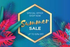 Modische Sommerschlussverkauf-Schablonenfahne Tropische Palmblätter der Papierkunst, Anlagen exotisch hawaiianer Raum für Text he lizenzfreie abbildung