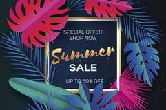 Modische Sommerschlussverkauf-Schablonenfahne Tropische Palmblätter der Papierschnitt-Kunst, Anlagen exotisch hawaiianer Raum für lizenzfreie abbildung
