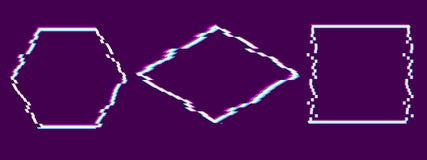 Modische Störschubeffektkunst Stellen Sie von den weißen Pixelrahmen auf purpurrotem Hintergrund mit rosa, blauem, gelbem Kanal e stock abbildung