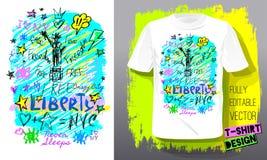 Modische T-Shirt Schablone, Stiftgekritzel-Skizzenart Hand gezeichneter Illustrationsvektor lizenzfreies stockbild