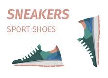 Modische Turnschuhe Sport-Schuhe lokalisierten Illustration Lizenzfreie Stockbilder