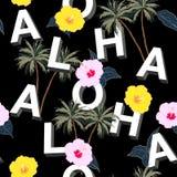 Modische und schöne nahtlose Mischung des Typo 3D ALOHA mit Sommer moti lizenzfreie abbildung