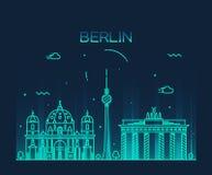 Modische Vektorillustration Berlin-Skyline linear stock abbildung