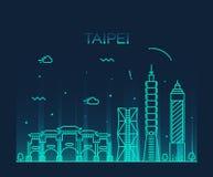 Modische Vektorillustration Taipeh-Skyline linear Lizenzfreie Stockfotos