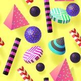 Modischer abstrakter Memphis Seamless Pattern mit realistischen Elementen 3d Geometrischer Form-Hippie-Hintergrund für Plakat Lizenzfreie Stockbilder