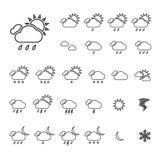 Modischer dünner Wetter-Ikonen-Satz Lizenzfreies Stockfoto