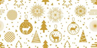 Modischer Hintergrund des neuen Jahres Nahtloses Vektormuster mit Tannenbäumen, Weihnachtsbällen, Schneeflocken und abstrakten ge vektor abbildung