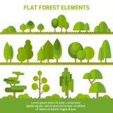 Modischer Satz verschiedene Bäume, Büsche, Gras und andere natürliche Gegenstände lizenzfreie abbildung