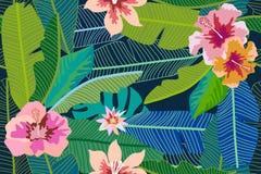Modischer tropischer Hintergrund mit Bananenblättern und -hibiscus blüht Lizenzfreies Stockfoto