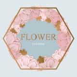 Modisches Blumen-Vektor-Design Pastellpfingstrose mit goldenem abstraktem Hintergrund Stockfotografie