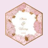Modisches Blumen-Vektor-Design Pastellpfingstrose mit goldenem Blumenhintergrund EPS10 Stockfotografie