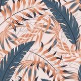 Modisches helles nahtloses Muster mit bunten tropischen Blättern und Anlagen auf Pastellhintergrund ENV 10 Dschungeldruck floral stock abbildung