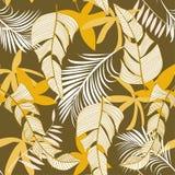 Modisches helles nahtloses Muster mit bunten tropischen Blättern und Anlagen auf Pastellhintergrund ENV 10 Dschungeldruck floral vektor abbildung