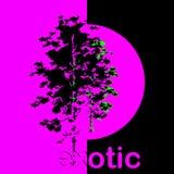 Modisches Hippie-Plakat mit dem violetten Plakat exotisch auf schwarzem Hintergrund lizenzfreie abbildung