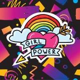 Modisches Kartendesign mit Mädchenenergieaufkleber Lizenzfreies Stockfoto