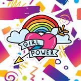 Modisches Kartendesign mit Mädchenenergieaufkleber Lizenzfreies Stockbild