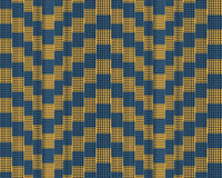 Modisches modernes quadratisches gestreiftes Muster, Illustration Nahtloses Muster mit quadratischem Elementgelbblau Illusionsmus Lizenzfreies Stockfoto