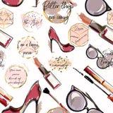 Modisches Modevektor-Tapetenmuster mit Kosmetik, Schuhe, lizenzfreie abbildung
