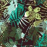 Modisches nahtloses exotisches Muster mit Palme, Tierdrucken und Hand gezeichneten Beschaffenheiten lizenzfreie abbildung