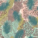 Modisches nahtloses exotisches Muster mit Palme und Tier prins stock abbildung
