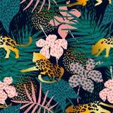 Modisches nahtloses exotisches Muster mit Palmen- und Tierdrucken Lizenzfreie Stockfotos