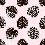 Modisches nahtloses Muster der Palmenniederlassung mit Hand gezeichneten Elementen Monstera-Blatthintergrund Groß für Gewebe, Gew Stockfoto