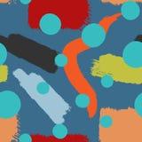 Modisches nahtloses Muster des Aquarells mit Bürstenanschlägen und runden Stellen Lizenzfreie Stockfotos