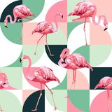Modisches nahtloses Muster des exotischen Strandes, Patchwork veranschaulichte tropische Bananenblätter des Blumenvektors Rosa Fl stock abbildung