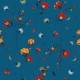 Modisches Retro- Muster der wilden Blume in vielen Art von Blumen BO Lizenzfreies Stockbild