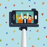 Modisches selfie Konzept 3d isometrisches infographic Lizenzfreie Stockfotografie