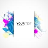 Modisches Textboxdesign mit buntem abstraktem Hintergrund Stockfotos